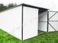 Biały garaż 3mx5m, otwarte prawe skrzydło
