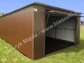 Brązowy garaż blaszany 4x6, brama umiejscowiona centralnie