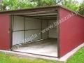 Czerwony blaszak 4m x 5m, brama uchylna, dach spad do tyłu, RAL 3005