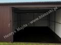Garaż metalowy 4m x 5m, brama uchylona