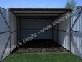 Szary garaż 3x5, brama otwierana na boki