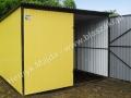 Żółty garaż z blachy powlekanej dach ze spadem do tyłu
