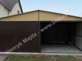 Brązowożółty garaż blaszany 6x5 bramy uchylne: RAL 8017, ściany RAL 1002
