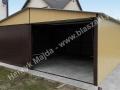 Brązowożółty garaż blaszany 6x5, RAL 8017, RAL 1002