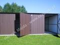 Dwustanowiskowy garaż 6x5, bramy dwuskrzydłowe, ciemny brąz