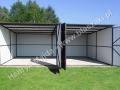 Dwustanowiskowy garaż 6x5, bramy otwarte, profil zamknięty pod dachem