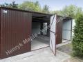Garaż blaszany 6x5 z bramą dwuskrzydłową brąz