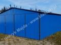 Niebieski blaszak z dachem dwuspadowym RAL 8005