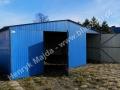 Niebieski garaż blaszany dwuspadowy 6x6