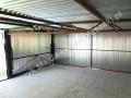 Podwójny garaż ocynkowany, spad tył - wnętrze z kratownicą