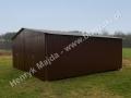 RAL 8017 - garaż blaszany podwójny z dachem dwuspadowym