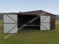 RAL 8017 - garaż z blachy 6x6, dwie bramy dwuskrzydłowe