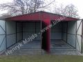 RAL 3005 - garaż blaszany z dwoma bramami dwuskrzydłowymi