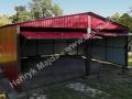 Wiśniowy garaż blaszany 6x5, dwie bramy podnoszone do góry