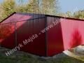 Wiśniowy garaż blaszany dwuspadowy 6x5 RAL 3005