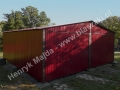 Wiśniowy garaż blaszak dwie bramy uchylne RAL 3005