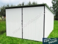 Biały garaż blaszany prawy bok