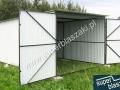 Garaż blaszany biały z bramą dwuskrzydłową