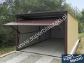 Brązowo żółty garaż blaszak 3x5 na wylewce betonowej