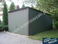 Garaż blaszany 3x5 brama uchylna konstrukcja wzmacniana profiem zamkniętym