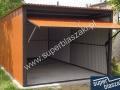 Jasnobrązowy garaż blaszany 3x5, brama uchylna