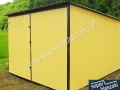 Żółty garaż z bramą dwuskrzydłową RAL 1002