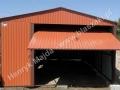 Cegła garaż blaszany, dwuspadowy dach