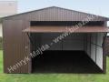 Ciemnobrązowy blaszak z kratownicą, dach dwuspadowy RAL 8017