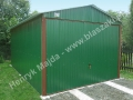 Zielony garaż blaszany wzmacniany profilem zamkniętym, RAL 6029