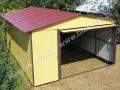 Dwukolorowy garaż blaszak - RAL 3005 i RAL 1002