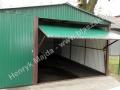 Dwuspadowy garaż blaszany 4x6 zielony, brama uchylna RAL 6029
