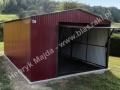 Dwuspadowy garaż blaszany, brama uchylna, RAL 3005