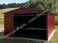 Dwuspadowy, wiśniowy blaszany garaż 4m x 6m