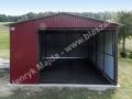 Dwuspadowy garaż blaszany wiśniowy RAL 3005
