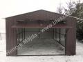 Garaż blaszany brązowy, brama uchylna, ustawiona centralnie